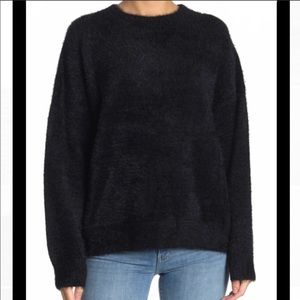 Mustard seed round neck fuzzy black sweater